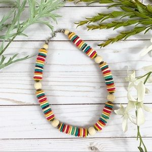 """Jewelry - Vintage Wooden Metal Chunky Bead Necklace 19"""" Boho"""